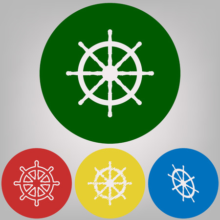 Ship wheel sign. Vector. 4 white styles of icon at 4 colored circles on light gray background.