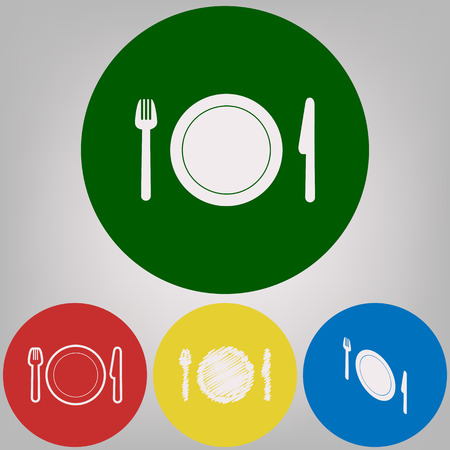 Fork, plate and knife. Vector. 4 white styles of icon at 4 colored circles on light gray background.