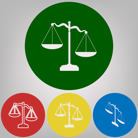 Scales of Justice sign. Vector. 4 white styles of icon at 4 colored circles on light gray background.