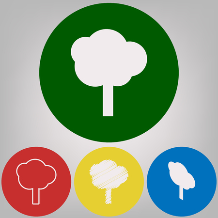 Tree sign illustration. Vector. 4 white styles of icon at 4 colored circles on light gray background.
