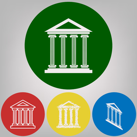 Historical building illustration. Vector. 4 white styles of icon at 4 colored circles on light gray background. 일러스트