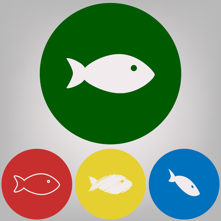 Fish sign illustration. Vector. 4 white styles of icon at 4 colored circles on light gray background. Illustration