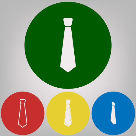 Tie sign illustration. Vector. 4 white styles of icon at 4 colored circles on light gray background.