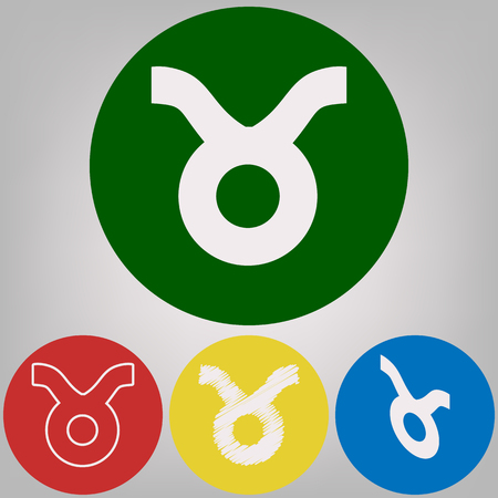 Taurus sign illustration. Vector. 4 white styles of icon at 4 colored circles on light gray background. Illustration