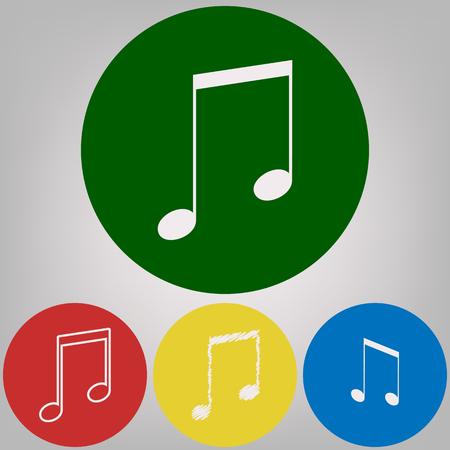 Music sign illustration. Vector. 4 white styles of icon at 4 colored circles on light gray background.