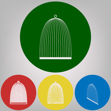 Bird cage sign. Vector. 4 white styles of icon at 4 colored circles on light gray background.