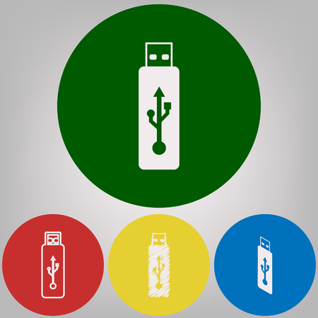 Vector USB flash drive sign. Vector. 4 white styles of icon at 4 colored circles on light gray background.
