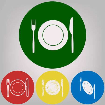 Fork, Knife and Plate sign. Vector. 4 white styles of icon at 4 colored circles on light gray background.