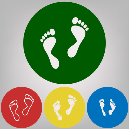 Foot prints sign. Vector. 4 white styles of icon at 4 colored circles on light gray background.
