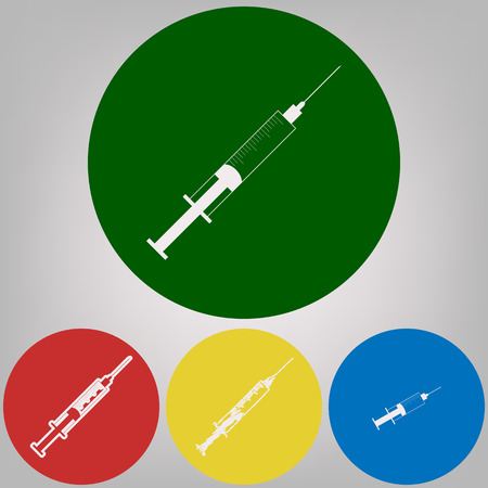 Syringe sign illustration. Vector. 4 white styles of icon at 4 colored circles on light gray background. Illustration