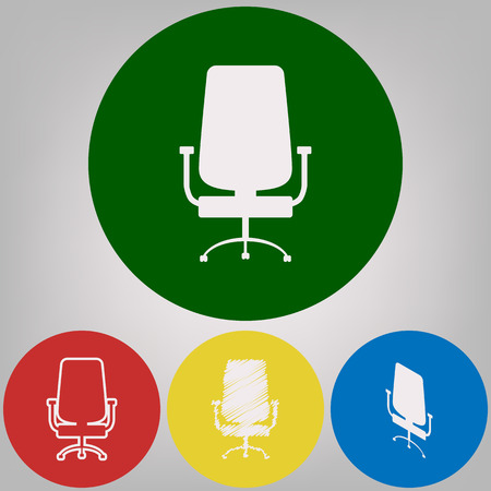 Office chair sign. Vector. 4 white styles of icon at 4 colored circles on light gray background. Vectores