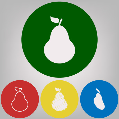 Pear sign illustration. Vector. 4 white styles of icon at 4 colored circles on light gray background.