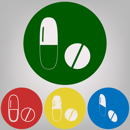 Medical pills sign. Vector. 4 white styles of icon at 4 colored circles on light gray background. Illustration