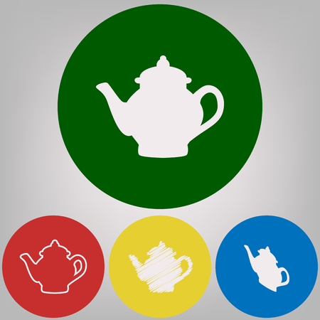 Tea maker sign. Vector. 4 white styles of icon at 4 colored circles on light gray background.