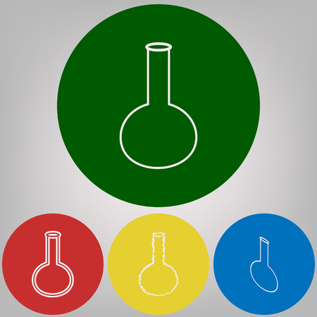 Tube. Laboratory glass sign. Vector. 4 white styles of icon at 4 colored circles on light gray background.