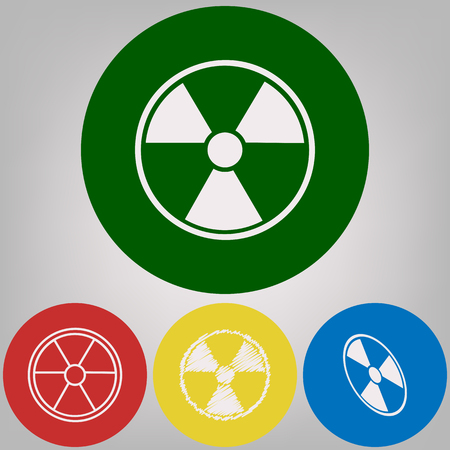 Radiation Round sign. Vector. 4 white styles of icon at 4 colored circles on light gray background.