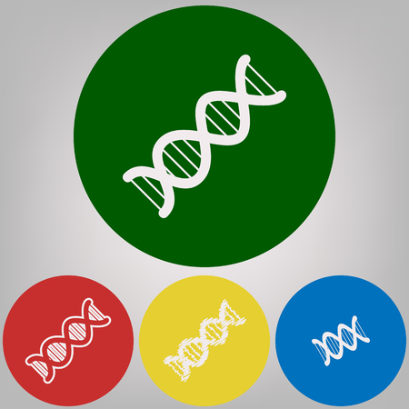 The DNA sign. Vector. 4 white styles of icon at 4 colored circles on light gray background.