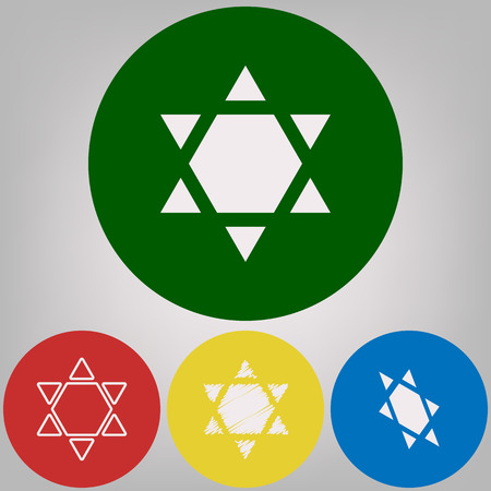 Shield Magen David Star Inverse. Symbol of Israel inverted. Vector. 4 white styles of icon at 4 colored circles on light gray background.