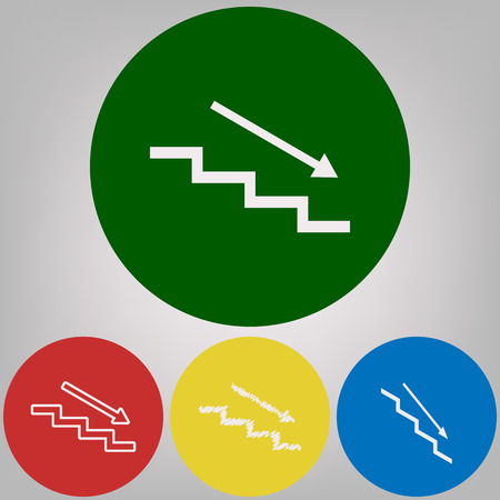 Stair down with arrow. Vector. 4 white styles of icon at 4 colored circles on light gray background. 일러스트