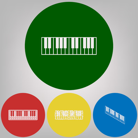 Piano Keyboard sign. Vector. 4 white styles of icon at 4 colored circles on light gray background. Illustration