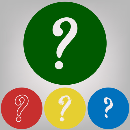 Question mark sign. Vector. 4 white styles of icon at 4 colored circles on light gray background.