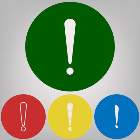Illustration de signe d'attention. Vecteur. 4 styles blancs d'icônes sur 4 cercles colorés sur fond gris clair.