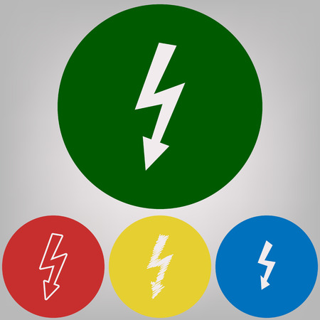 High voltage danger sign. Vector. 4 white styles of icon at 4 colored circles on light gray background.