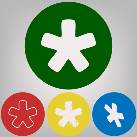 Asterisk star sign. Vector. 4 white styles of icon at 4 colored circles on light gray background.
