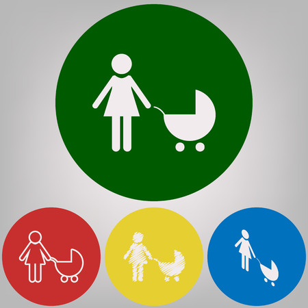 Family sign illustration. Vector. 4 white styles of icon at 4 colored circles on light gray background.