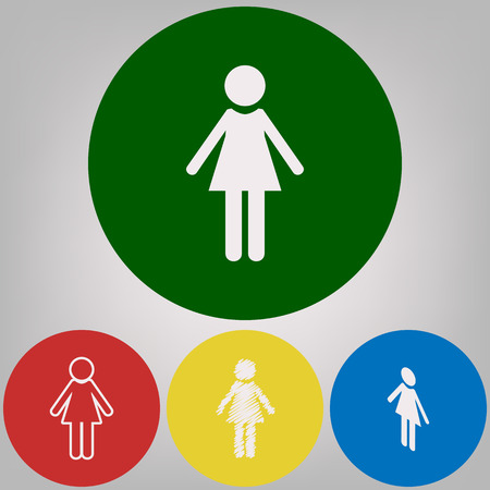 Woman sign illustration. Vector. 4 white styles of icon at 4 colored circles on light gray background. Illustration