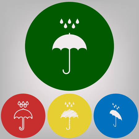 Umbrella with water drops. Rain protection symbol. Flat design style. Vector. 4 white styles of icon at 4 colored circles on light gray background.