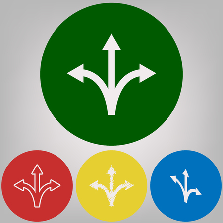 Three-way direction arrow sign. Vector. 4 white styles of icon at 4 colored circles on light gray background. Illustration