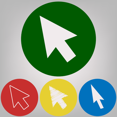 Arrow sign illustration. Vector. 4 white styles of icon at 4 colored circles on light gray background. Illustration