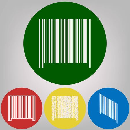 Barcode sign. Vector. 4 white styles of icon at 4 colored circles on light gray background.