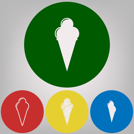 Ice Cream sign. Vector. 4 white styles of icon at 4 colored circles on light gray background.