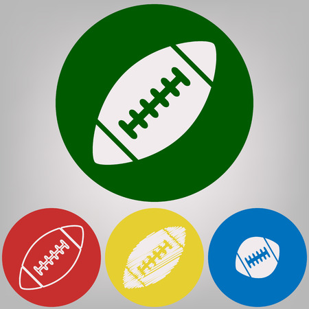 American simple football ball. Vector. 4 white styles of icon at 4 colored circles on light gray background.