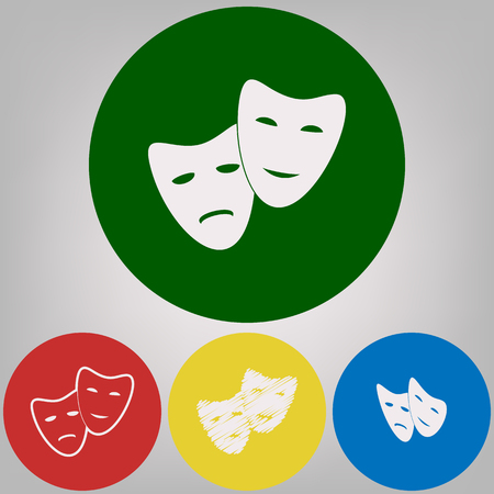 Theater icon with happy and sad masks. Vector. 4 white styles of icon at 4 colored circles on light gray background.
