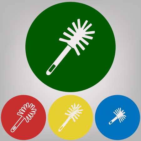 Toilet brush doodle. Vector. 4 white styles of icon at 4 colored circles on light gray background. Illustration