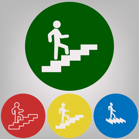 Man on Stairs going up. Vector. 4 white styles of icon at 4 colored circles on light gray background. Illustration