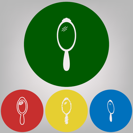 Hand Mirror sign. Vector. 4 white styles of icon at 4 colored circles on light gray background.