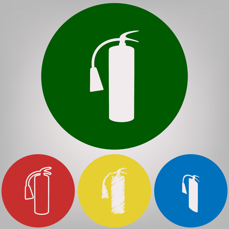 Fire extinguisher sign. Vector. 4 white styles of icon at 4 colored circles on light gray background.