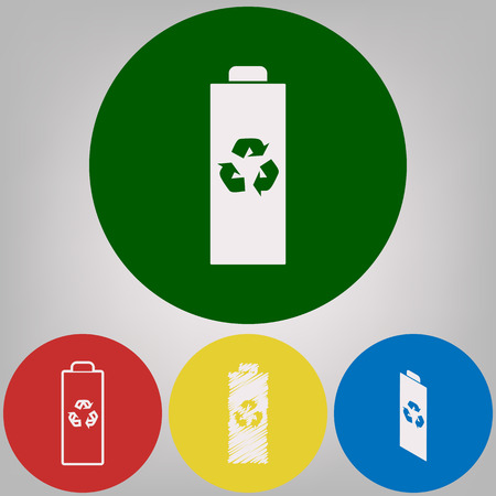 Battery recycle sign illustration. Vector. 4 white styles of icon at 4 colored circles on light gray background.