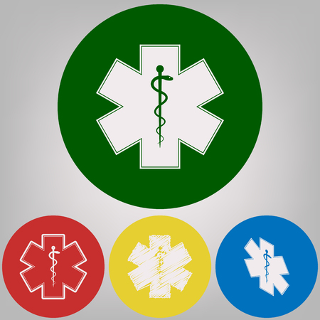 Medical symbol of the Emergency or Star of Life with border. Vector. 4 white styles of icon at 4 colored circles on light gray background.