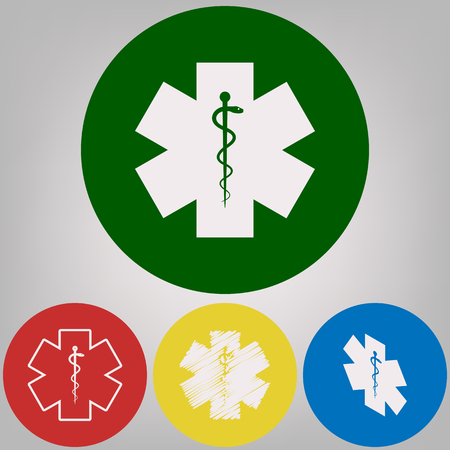 Medical symbol of the Emergency or Star of Life. Vector. 4 white styles of icon at 4 colored circles on light gray background. Illustration