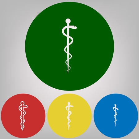 Symbol of the Medicine. Vector. 4 white styles of icon at 4 colored circles on light gray background. Illustration