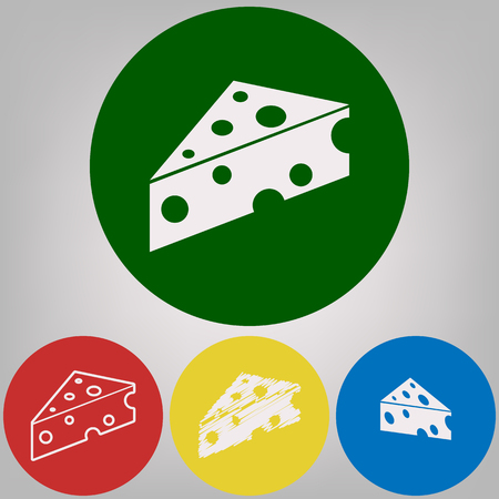 Cheese Maasdam sign. Vector. 4 white styles of icon at 4 colored circles on light gray background.