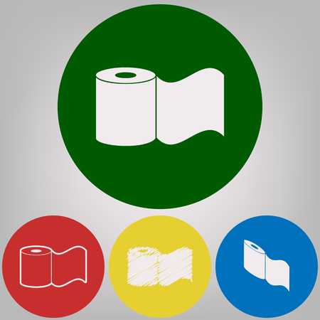 Toilet Paper sign. Vector. 4 white styles of icon at 4 colored circles on light gray background. Illustration