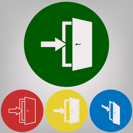 Door Exit sign. Vector. 4 white styles of icon at 4 colored circles on light gray background.