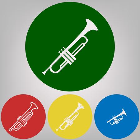 Instrument de musique signe de la trompette. Vecteur. 4 styles blancs d'icônes sur 4 cercles colorés sur fond gris clair.