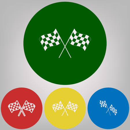 Crossed checkered flags waving in the wind conceptual of motor sport. Vector. 4 white styles of icon at 4 colored circles on light gray background. Vettoriali